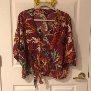 NEW EXPRESS maroon floral crop top
